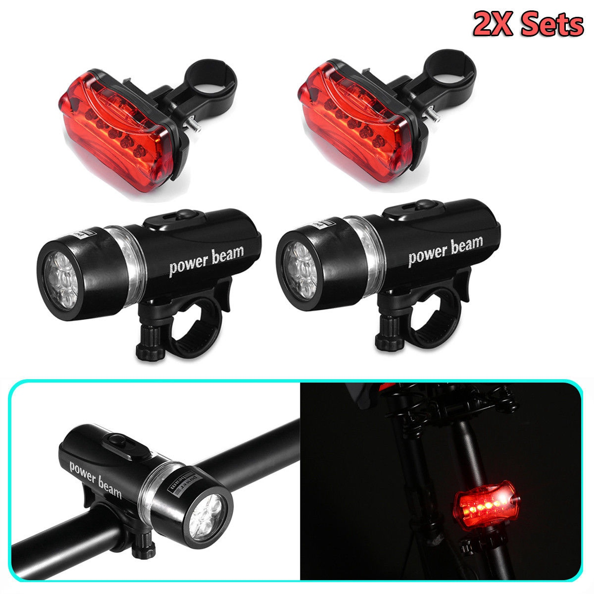 2x Sets LED Lamp Bike Bicycle MTB Front Head Light + Rear Safety Flashlight Kit