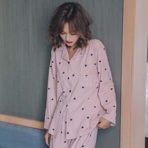 Image 4 - Best Selling Ladies Autumn New Comfort Pajamas Set Cartoon Sweet Heart Printed Simple Style Sleepwear Turn down Collar Homewear