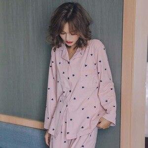 Image 4 - Meilleure vente dames automne nouveau confort pyjamas ensemble dessin animé doux coeur imprimé Simple vêtements de nuit de style col rabattu Homewear