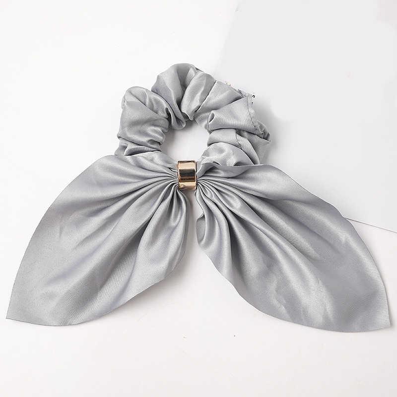 2020 yeni popüler şerit elastik halat katı saten Scrunchie saç bandı eşarp bağları saç bandı yay