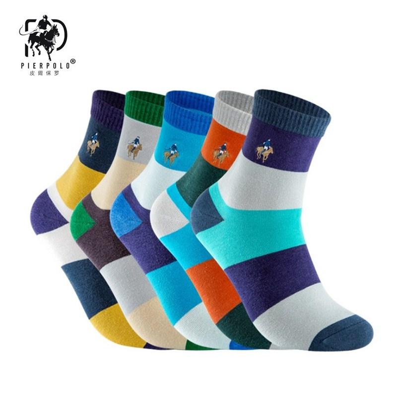 Высокое качество PIER POLO брендовые зимние хлопковые мужские носки с вышивкой, деловые Повседневные носки, мужские Разноцветные носки, оптова...