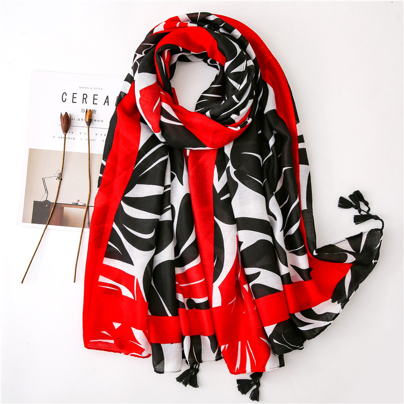 Spring Summer New Cotton Scarf Ladies Fashion Joker Red And Black Geometric Scarves Travel Shawls