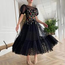 Prom-Dress Flowery Tulle Tea-Length Black Princess Embroidery Thinyfull with Pocket Robe-De-Soiree