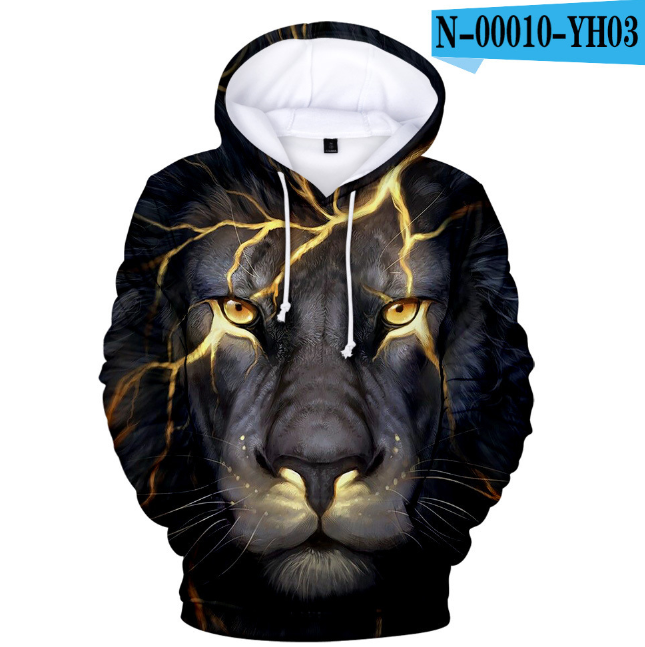 3D Cool Lion Animal Horror Hoodies Sweatshirt I'm Fine Harajuku Women/Men/Kids Sweatshirt Parent-child Costume Hoodie Sweatshirt