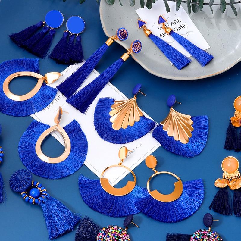 Bohemian Tassel Earrings Blue Black Red Geometric Cotton Silk Fringe Big Dangle Earrings For Women 2020 Fashion Female Jewelry