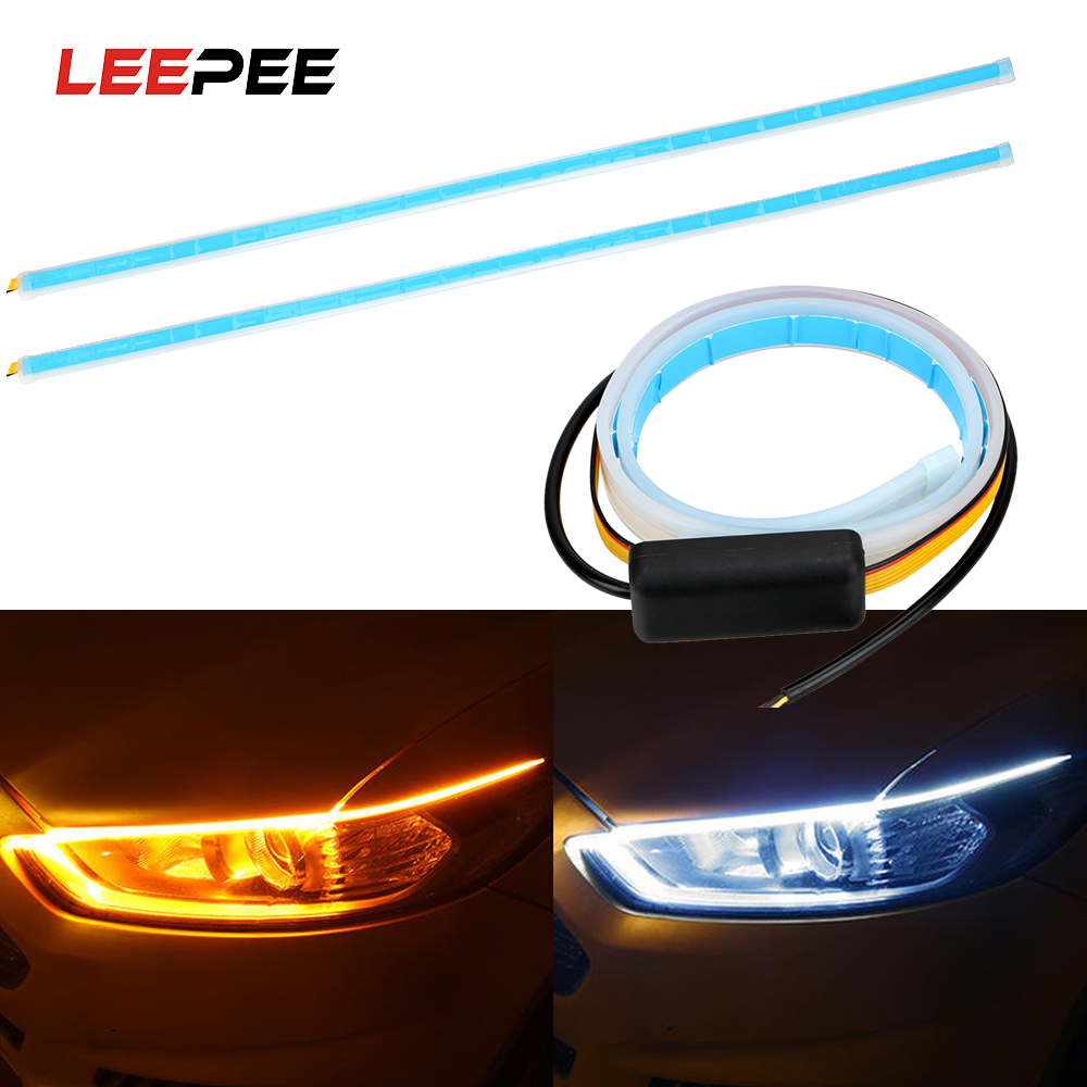 LEEPEE 2x Car LED Strip DRL 45 60cm Daytime Running Light White Turn Signal Lamps Yellow Flexible Soft Tube Guide Ultrafine 12V image
