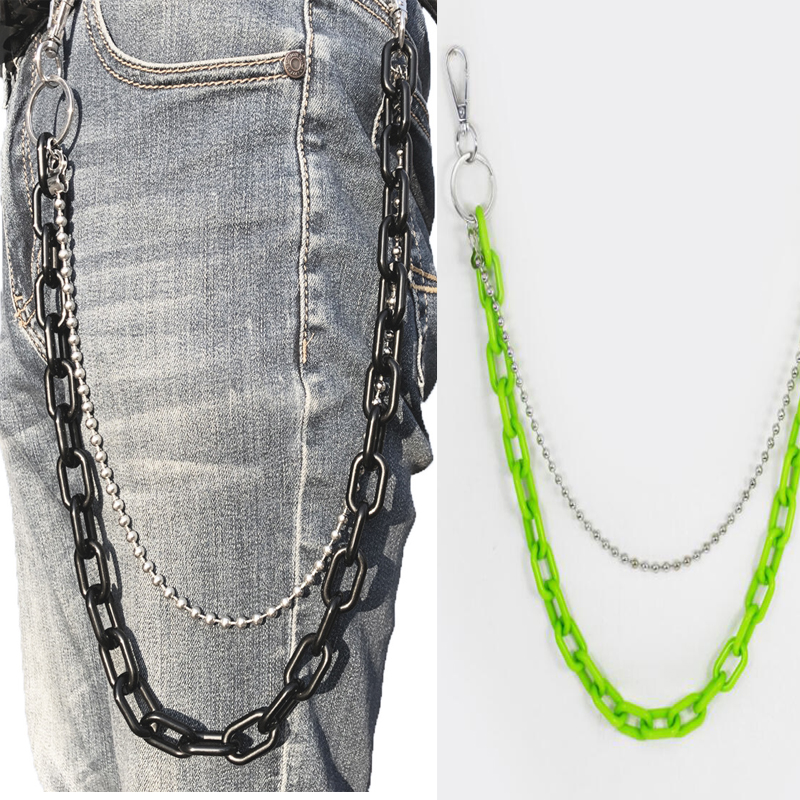 2019 Punk Hip-hop Pants Chain Street Cool Chic Style Men And Womem Acrylic Trousers Chain Jewelry Keychains Fashion Jewelry