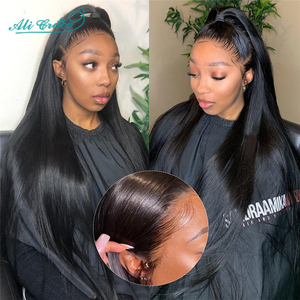 Ali Grace 13x4 парики из человеческих волос на сетке спереди для черных женщин, предварительно выщипанные волосы, линия Реми, бразильский прямой п...