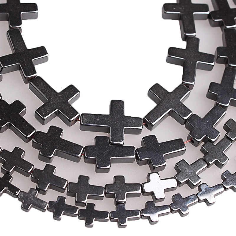 Naturstein Kreuz Schwarz Hämatit Spacer Perlen 6x8/8x10/10x14/14x 1mm Diy Erkenntnisse Armband Perlen Für Schmuck Machen Zubehör