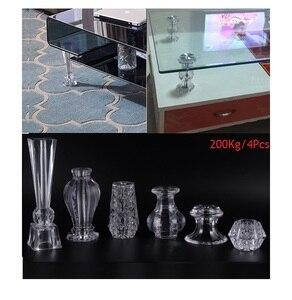 Image 1 - 4 stks/partij Premintehdw Acryl PMMA Crystal Kabinet Koffie Bar Voeten Ondersteuning Glas top wijn kast ondersteuning
