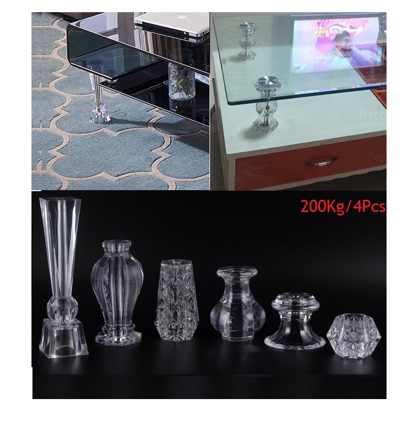 4Pcs/Lot Premintehdw Acrylic PMMA Crystal Cabinet Tea Coffee Bar Feet Support Glass Top Wine Cupboard Support