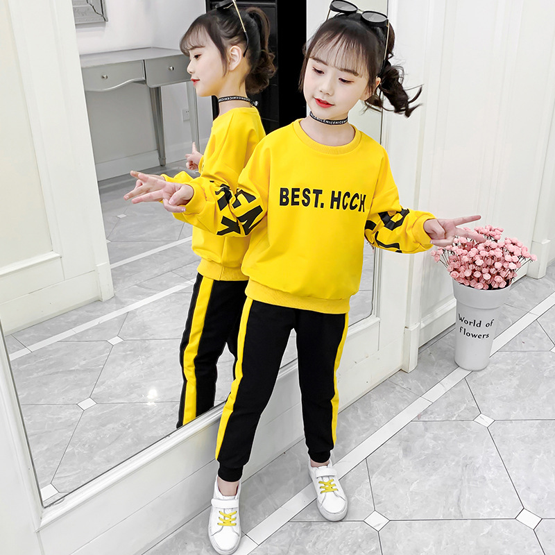 <font><b>Children</b></font> Clothing 2020 Autumn <font><b>Winter</b></font> Girls <font><b>Clothes</b></font> Set Long Sleeve Shirts + Pants Suits Baby Kids <font><b>Clothes</b></font> 7 <font><b>8</b></font> 9 10 <font><b>Year</b></font> image