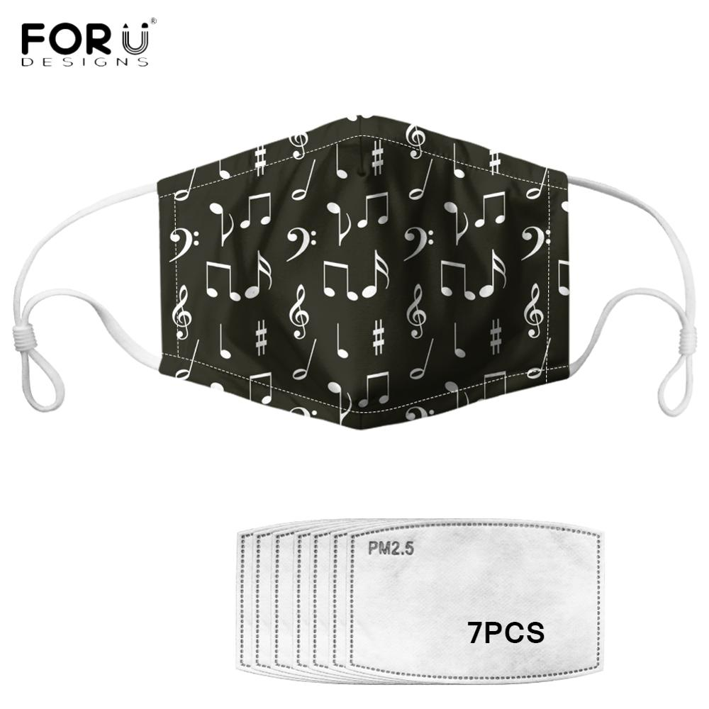 FORUDESIGNS Sweet Music Notes Print Unisex Mouth Mask With 7Filters PM2.5 Elastic Breathable Women Men Face Mask Anti-dust Mask