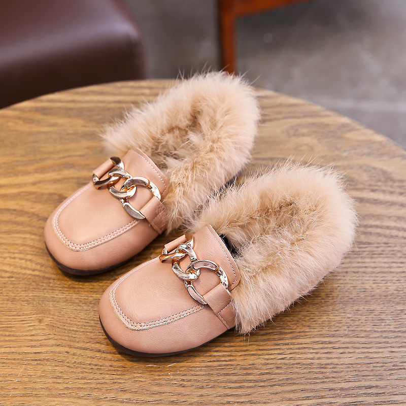 Baby Girls Shoes Warm Flats PU Leather Princess Shoes Winter Kids Fur Casual Shoes Toddler Brand Loafer Fashion Moccasins|Sneakers| |  - title=