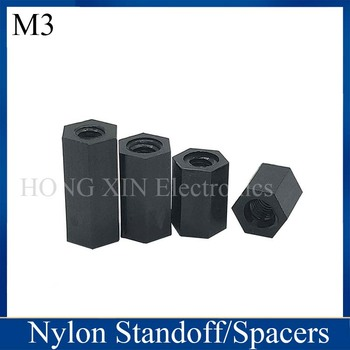 M3*5/6/8/9/10/11/12/15/16/18/20/22/24/25/28/30/32/35/38/40/45/50 Black 1pcs Nylon Hex Female-Female Standoff Spacer Threaded Hex image