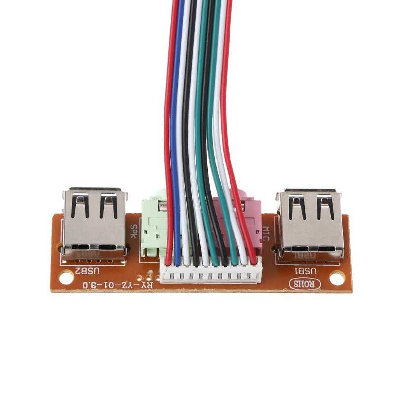 2 puertos USB 2,0 caja de la computadora Panel frontal Audio Jack Puerto Mic auricular Cable