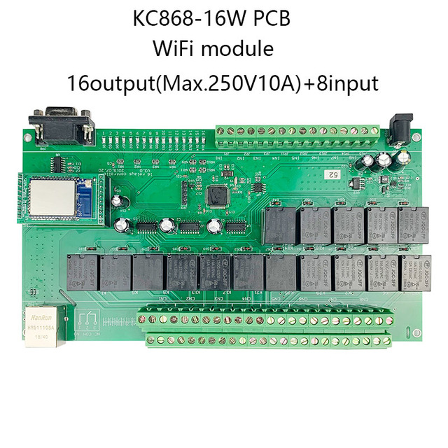 16 + 8CH 이더넷 PCB 보드 Kincony 스마트 홈 자동화 모듈 컨트롤러 원격 제어 10A 릴레이 DIY 스위치 시스템 Domotica