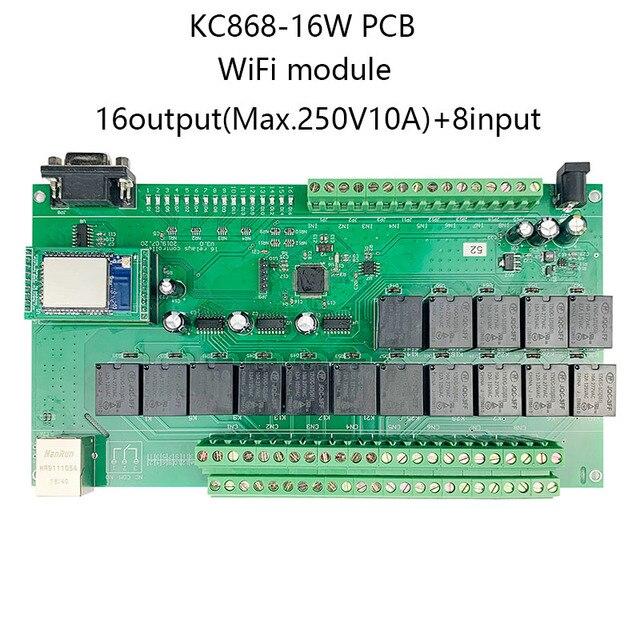 16 + 8ch ethernet placa pcb kincony módulo de automação residencial inteligente controlador controle remoto 10a relé diy sistema interruptor domotica