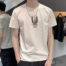 Nova onda de edição han dos homens cultivar a moralidade T shirt de manga curta impressa t shirt dos homens gola redonda meia manga blusa