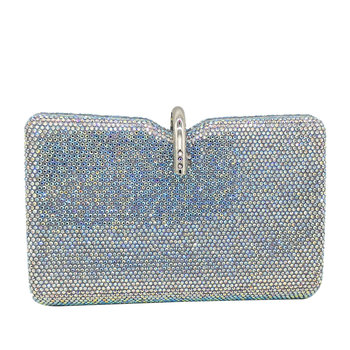 Boutique De FGG Dazzling Grey Women Crystal Evening Clutch Bags Wedding Party Handbag and Purse Bridal Diamond Clutch Minaudiere golden crystal evening clutches bag for women hollow out handbag and purse bridal rhinestones clutch wedding box clutch wallet
