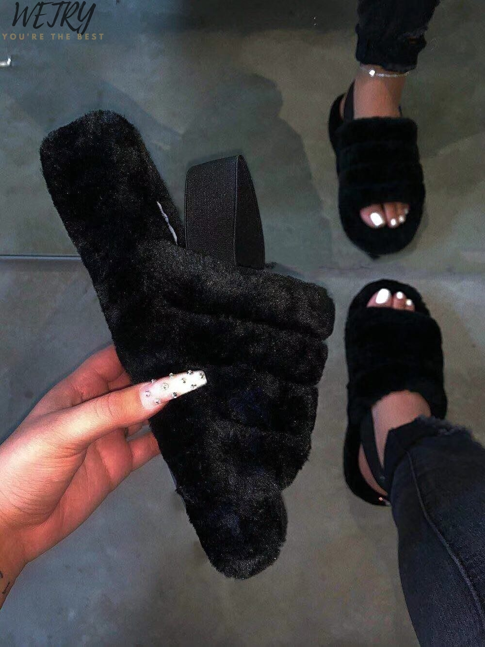 2020 Spring New Manufacturers Wholesale Comfortable Wild Fur Slippers Imitation Fur Sandals Wholesale Zapatos De Mujer