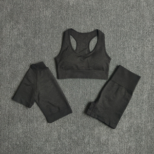 Image 1 - Seamless Women Yoga Set Gym Clothes Sports Bra Fitness Crop Top Short Sleeve Shirt High Waist Shorts Sports Suits Athletic Wear