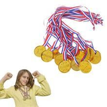 12pçs vencedor de plástico dourado do award, encorajamento, material escolar, jogos ao ar livre, brinquedo para crianças, adereços de foto