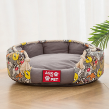 Pet Dog Bed Nest Round Cartoon Printed Kennel Breathable Dogs Canvas House Pets Product for Small Medium Pets