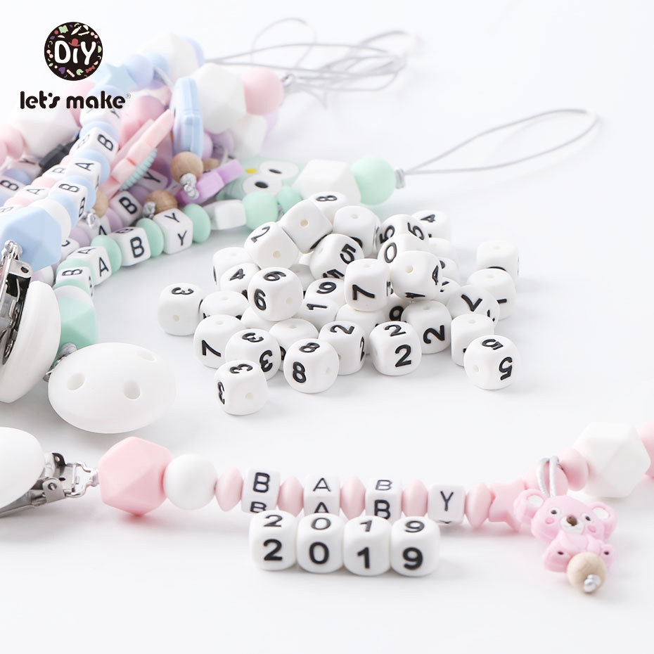 Let'S Make 10Pc Silicone Teether 0-9 Number Letters Bpa Free Chew Beads Diy Pacifier Chain Baby Teethers Teething Square  Bead