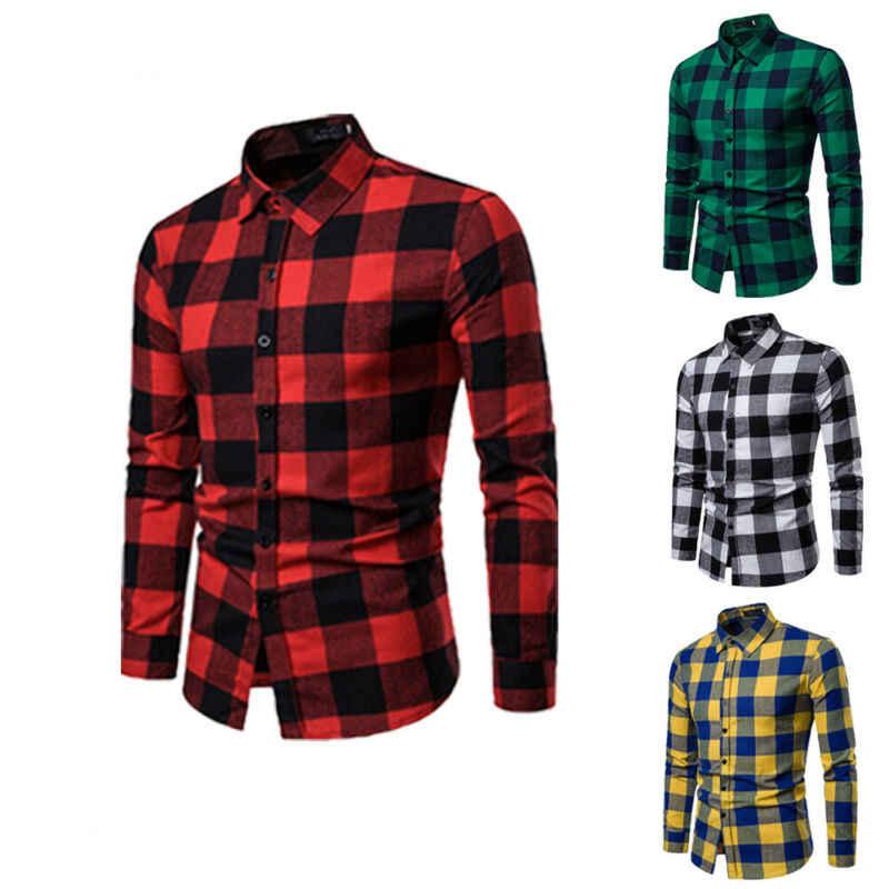 Koszula w kratę 2019 nowa jesienna zima flanelowa czerwona  ZaJm4