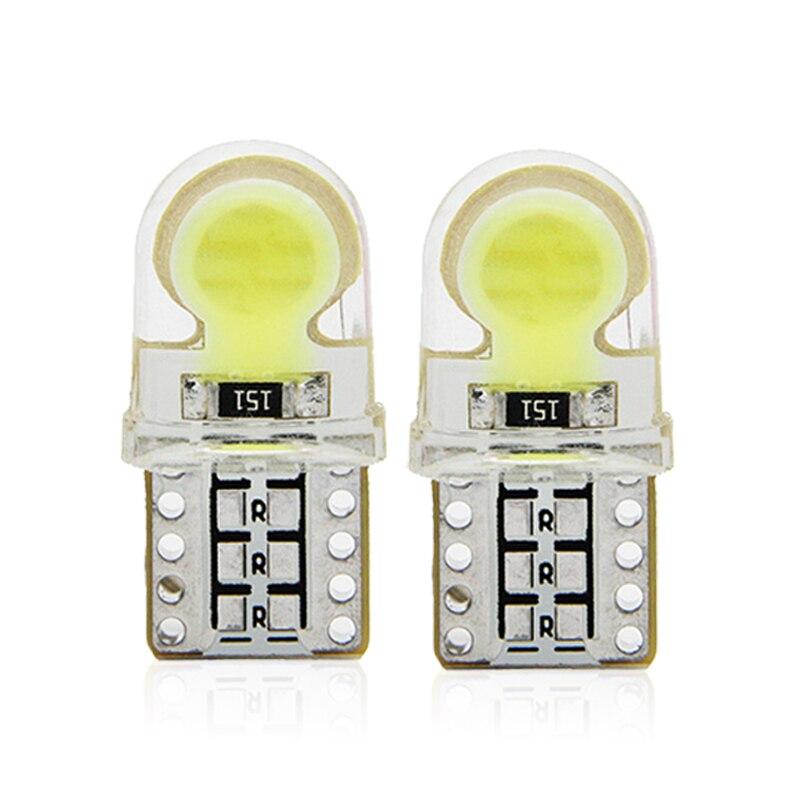 2x T10 W5W Car LED Signal Bulb COB Interior Light Super Bright 12V Auto Reading Trunk Luggage Door Side License Plate Lamp White
