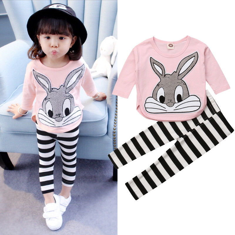 Autumn Kids Toddler Infant Baby Girls Clothes Sets Cartoon Rabbit Printed Long Sleeve Pullover Pink Tops+Striped Pants Outfits