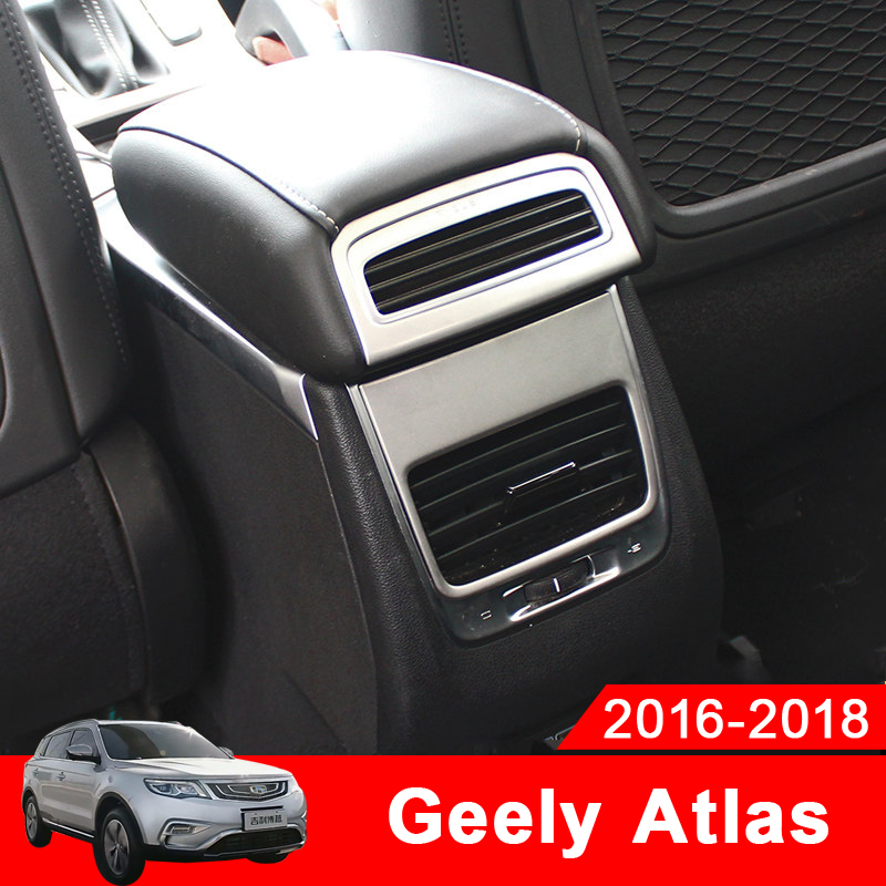 Car Interior Armrest Box Rear Air Condition Vent Cover Trim Air Outlet Decor Stickers For <font><b>Geely</b></font> <font><b>Atlas</b></font> boyue 2017 2018 <font><b>2019</b></font> image