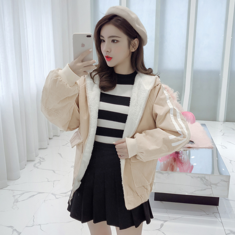 2020 Winter Hooded Warm Corduroy Basic Jeans Jacket Lambswool Bomber Jacket Women Long Sleeve Jacket Casual
