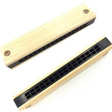 Drewniana harmonijka bluesowa edukacyjna Instrument muzyczny harmonijka zabawka dla dzieci początkujący dzieci prezent instrumenty muzyczne tanie tanio CN (pochodzenie) Diatoniczny Mosiądz 24 Holes Tremolo Harmonica Brak Accessories