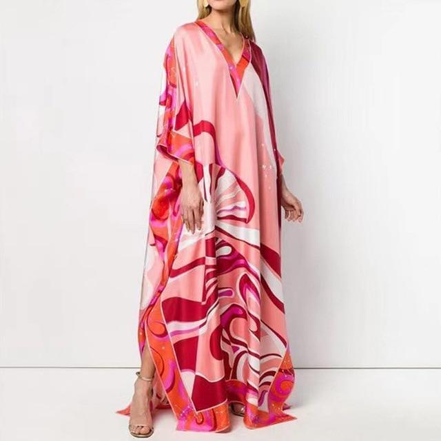 Retro Floral Print Elegant Maxi Dress Women 2021 Summer V-Neck Loose Long Boho Dresses Casual Female Split Dress Ladies Vestidos 2