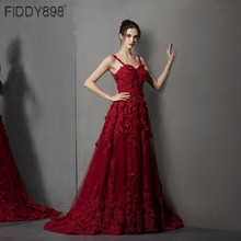 Burgundy Evening Dresses 2020 Straps A Line 3D Flower Applique Beaded Evening Gown Formal Dress Vestido de Fiesta de Noche NE81