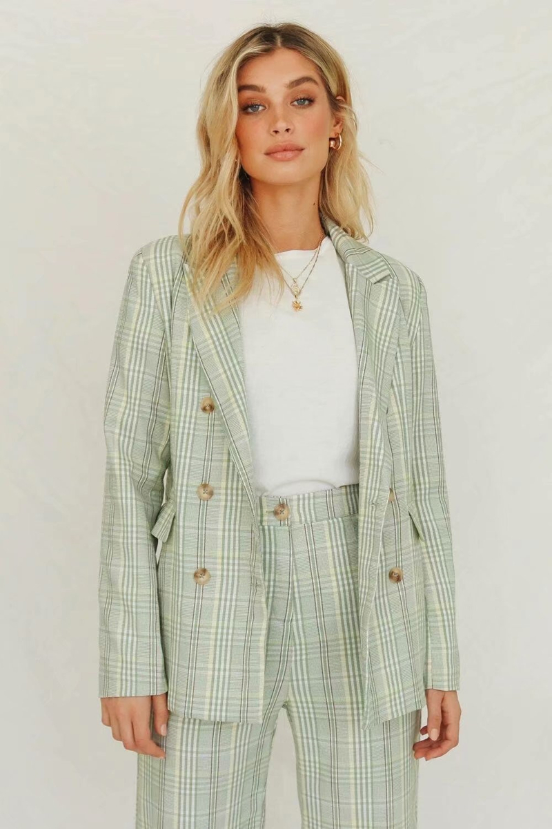 Hot 2019 autumn new fashion women's long-sleeved suit collar classic double-breasted Medium Long plaid blazer