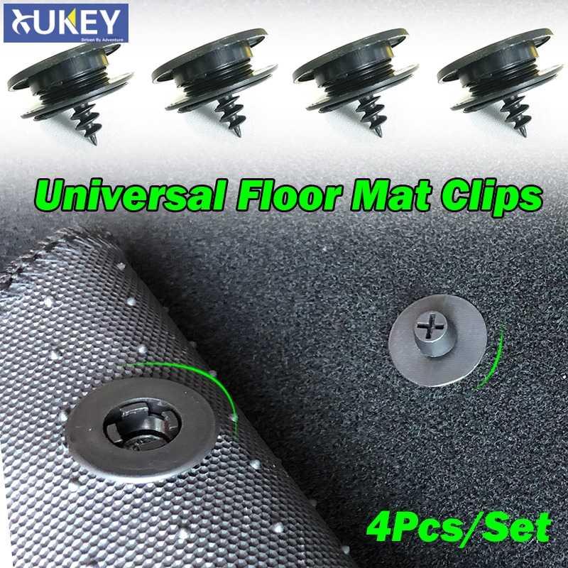 4x Universal Auto Fastener Floor Mat Clips Fixing Buckles Retainer Holders Anti Skid Grips Retention Carpet Clamps Rivet