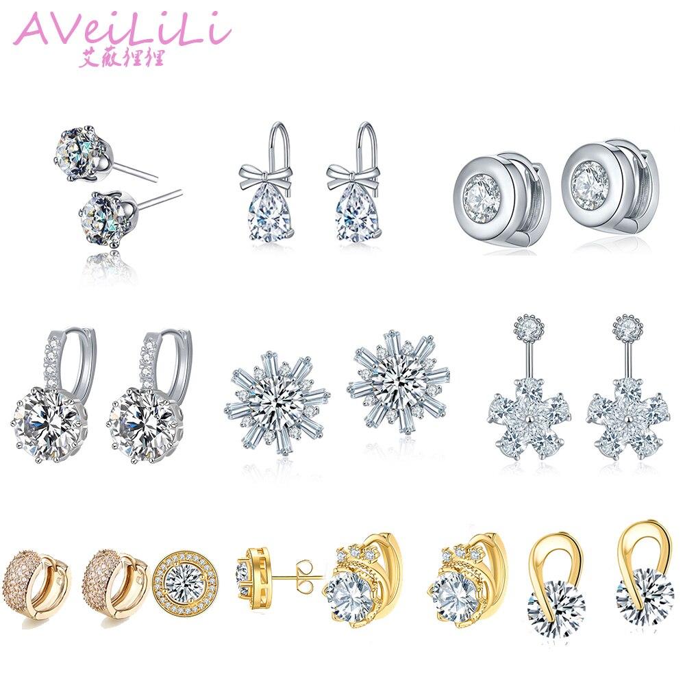 Fashion Woman Zircon Crystal Earring Copper Golden Silvery Star Flower Clip Earrings Studs Jewelry Gift OL