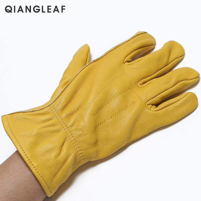 Image 2 - QIANGLEAF Brand New Men's Work Gloves Cowhide GlovesLeather Security Protection Wear Men Safety Driver Working Welding Glove H93-in Safety Gloves from Security & Protection