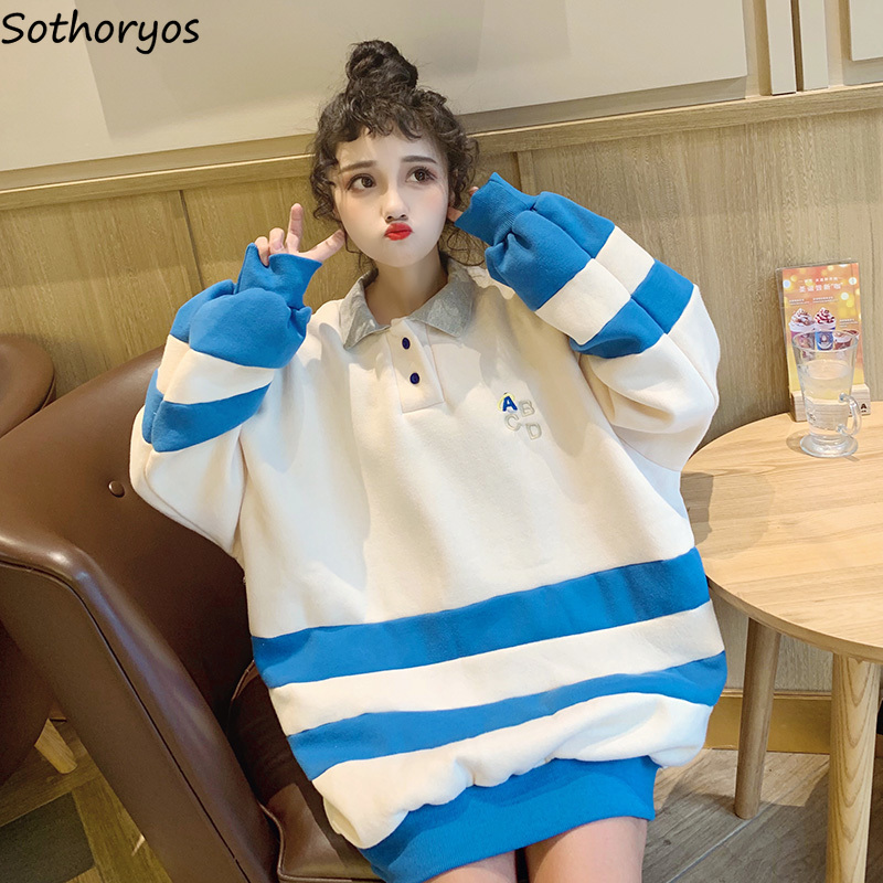 Hoodies Women Korean Style Simple Fashion Kawaii Soft Loose Ulzzang Lovely Cute All-match Plus Velvet Large Size Womens Clothes
