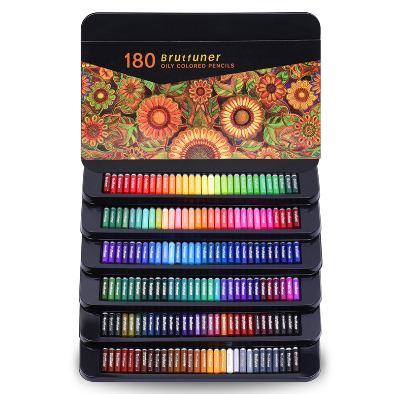 Colored Pencils Professional Set of 180 Colors, Soft Wax-Based Cores Ideal for Drawing Art Sketching Shading & Coloring Tin Box 1
