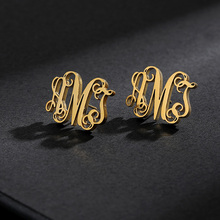 Initial Letter Earing Stainless Steel Earing Personalized Monogram Name Stud Earrings For Women Pendientes Aretes De Mujer 2019