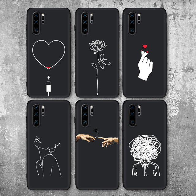 Art Simple Line Hand Rose Girl P30Lite Soft Silicon Case For Huawei P20 P20Lite P20Pro P30 Lite P30Pro Honor10 Phone Cover Case