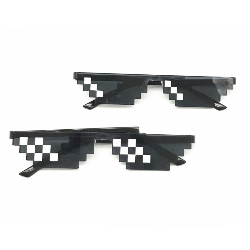 New Fashion MineCrafted Sunglasses Kids Cos Play Action Game Toys Square Mosaic Glasses With Case Gifts For Children