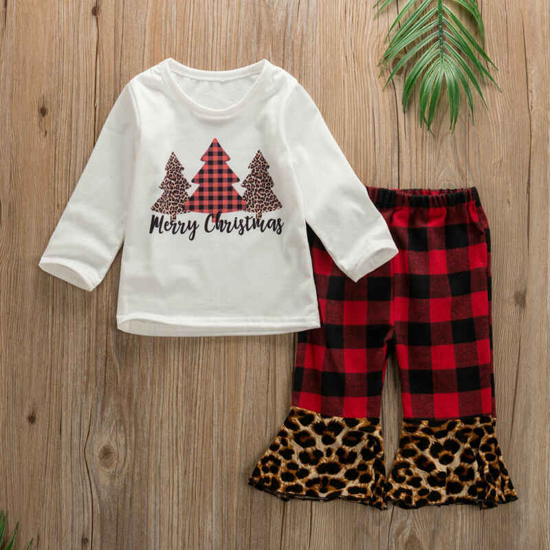 2019 New Christmas Baby set 2pcs Newborn Kids Baby Girls Christmas Tops+ Plaids Leopard Pants Outfits Set infant clothing