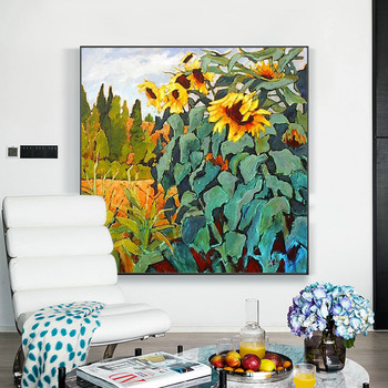 Pure hand-painted Oil Painting The Living Room Entrance Decorative Painting Nordic Style Of Van Gogh Sunflower Painting A Large