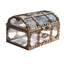 1pc Treasure Box Transparent Plastic Chest Storage Pirate for Jewelry Gem Collectibles Crystal