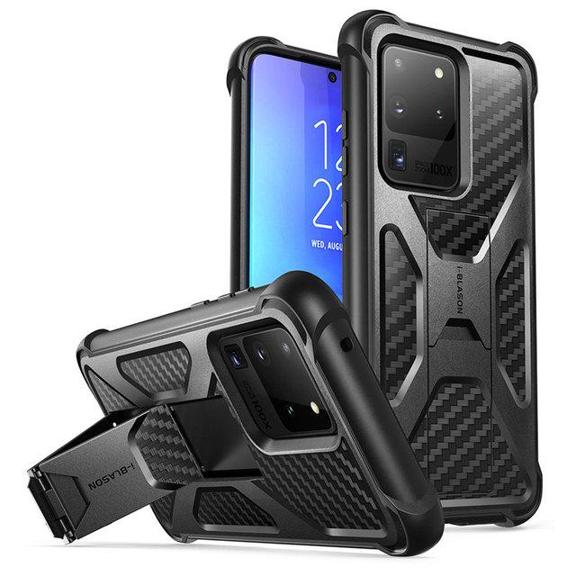 Pour Samsung Galaxy S20 Ultra Case/S20 Ultra 5G boîtier i blason transformateur double couche robuste pare chocs avec béquille intégrée